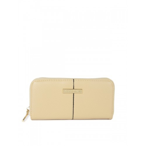 Addons Women Beige Solid Zip Around Wallet