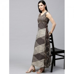 Aks Grey & Off White Cotton Printed Kurta