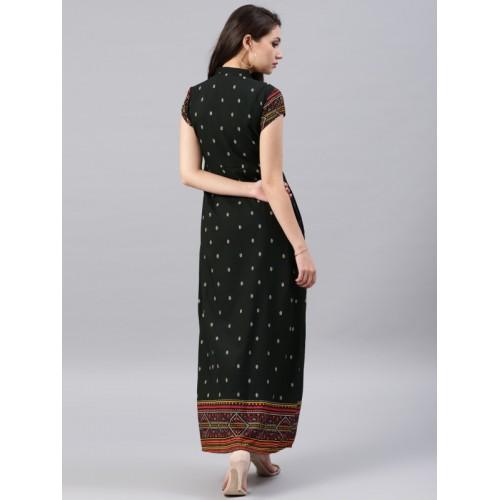 Vishudh Women Black Printed A-Line Kurta