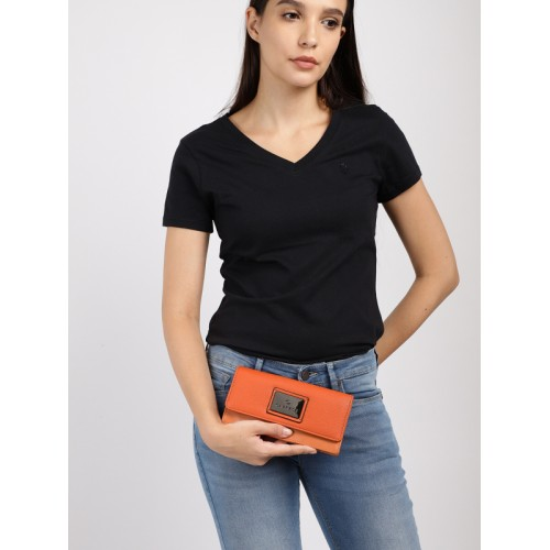 Caprese Women Orange Solid Two Fold Wallet