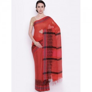 gocoop Red Striped Bhagalpuri Traditional Handloom Saree