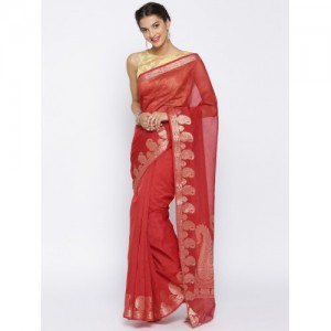 Bunkar Red Patterned Banarasi Saree