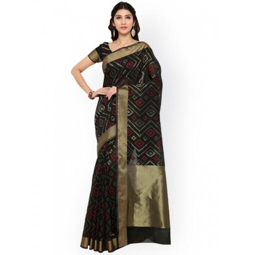 Bhelpuri Black Cotton Blend Woven Design Chanderi Saree