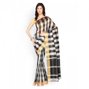 Pavechas Black & White Checked Banarasi Poly Silk & Cotton Traditional Saree