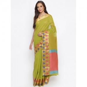 The Chennai Silks Green Woven Design Cotton Blend Saree