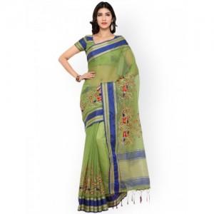 Bhelpuri Green Woven Design Cotton Blend Saree