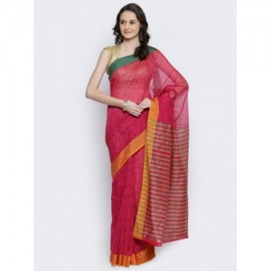 Bunkar Pink Supernet Cotton Printed Banarasi Saree