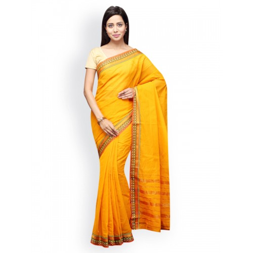 Pavechas Yellow Mangalagiri Cotton Traditional Saree
