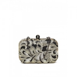 Carlton London Black & Gold-Toned Embroidered Clutch