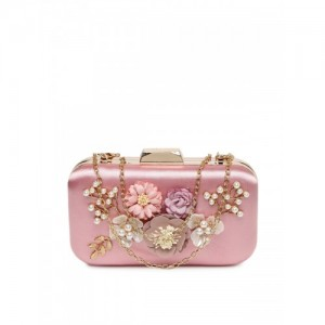 DressBerry Pink Floral Embellished Box Clutch with Chain Strap