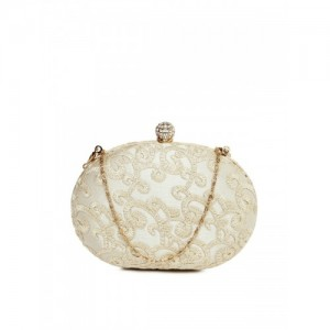 DressBerry Beige Shimmer & Embroidered Box Clutch with Chain Strap