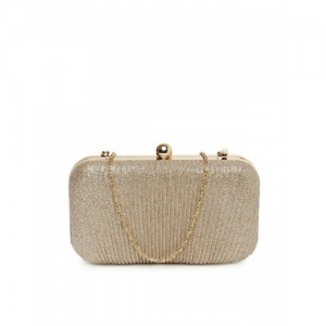 DressBerry Muted Gold-Toned Shimmer Box Clutch with Chain Strap