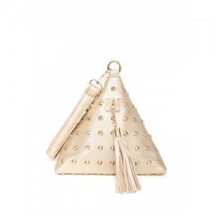 Lisa Haydon for Lino Perros Gold-Toned Studded Triangular Clutch