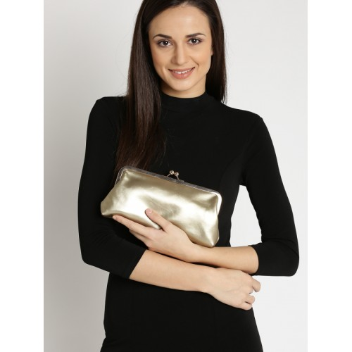 Lisa Haydon for Lino Perros Muted Gold-Toned Clutch with Chain Strap