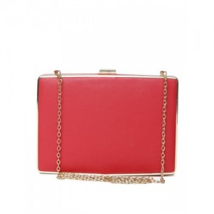 Lisa Haydon for Lino Perros Red Box Clutch with Chain Strap