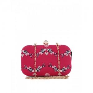 Hepburnette Pink & White Printed Box Clutch
