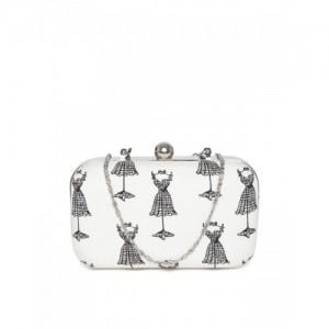 Hepburnette Off-White & Black Printed Box Clutch with Chain Strap