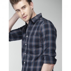 Harvard Men Navy Slim Fit Checked Casual Shirt
