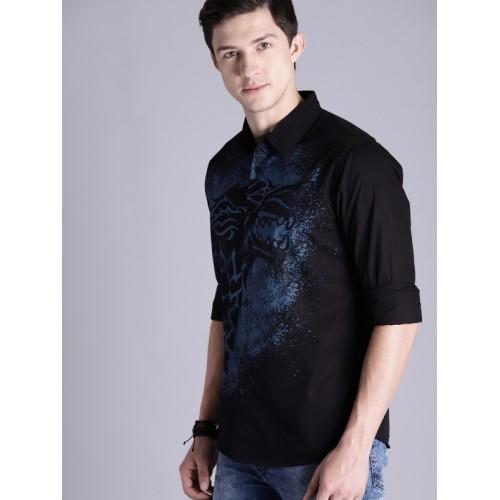 Game of Thrones by Kook N Keech Men Black & Blue Regular Fit Printed Casual Shirt