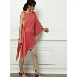 All About You Pink Solid One-shoulder Asymmetric Kurta