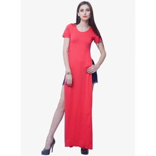 c7fa77d0d7 ... Faballey Pink Solid Asymmetric Maxi Dress With Double Thigh High Slits  ...