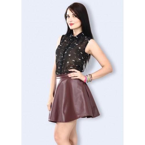 Buy Faballey Dark Heart Leather Dark Brown Skater Skirt online ... a7153ae53