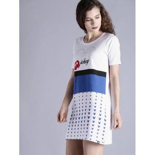 Kook N Keech Disney White & Blue Cotton Printed T-shirt Dress
