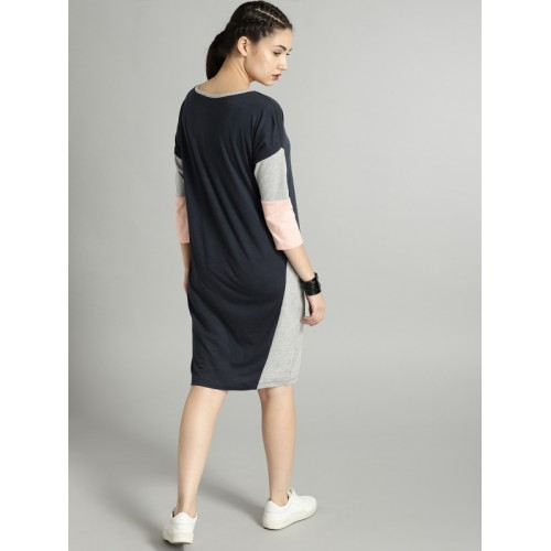 Roadster Blue Cotton Solid A-Line Dress