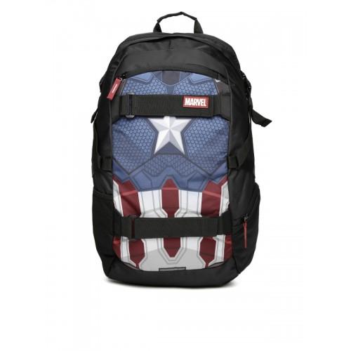 ... Kook N Keech Marvel Unisex Black   Navy Captain America Star Printed  Backpack ... df2dd482dca17