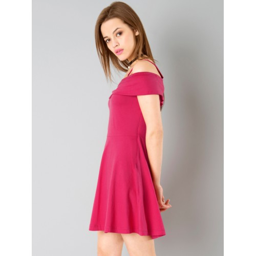 FabAlley Pink Solid Fit & Flare Dress