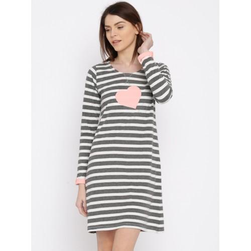 3d037dd990 Buy Slumber Jill Charcoal   Off-White Striped Sleep Shirt FWSJ712 ...