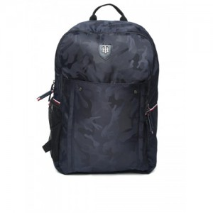 Tommy Hilfiger Unisex Navy Blue Printed Laptop Backpack