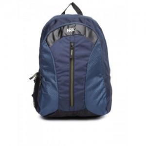 HRX by Hrithik Roshan Unisex Navy & Black Velocity Patterned Backpack