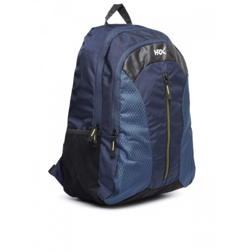 HRX by Hrithik Roshan Unisex Navy & Black Velocity Patterned Backpack