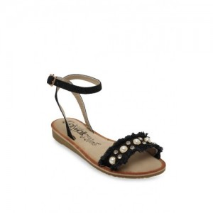9955bae84 Catwalk Women Black Embellished Open Toe Flats