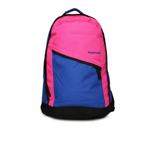 Fastrack Women Blue & Pink Backpack