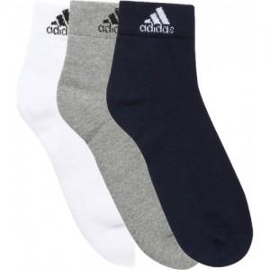 ADIDAS Men's Solid Ankle Length Socks (Pack of 3)