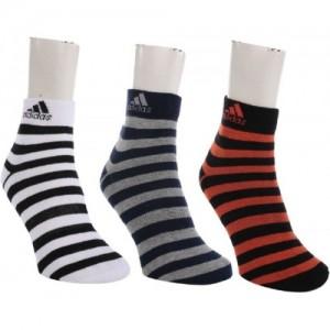 ADIDAS Men's Striped Ankle Length Socks (PACK OF 3)