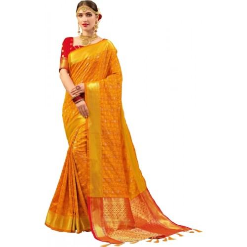 EthnicJUnction Yellow Woven Paithani Silk Saree