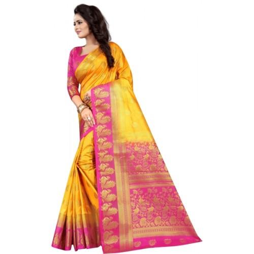 Saarah Yellow & Pink Art Silk Self Design Kanjivaram Saree