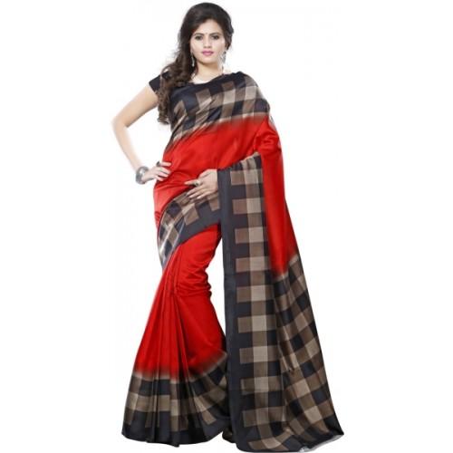 Saara Geometric Printed Daily Wear Cotton Silk Saree