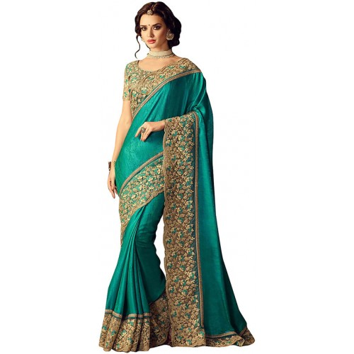 Deep Fashion Turquoise Bhagalpuri Silk Ethnic Saree