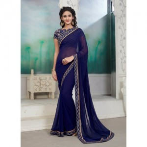 onlinefayda Designer Plain Fashion Chiffon Saree