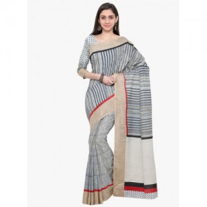 Inddus Multicoloured Striped Saree