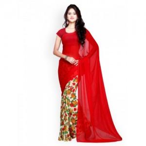 Ligalz Red Chiffon Printed Saree