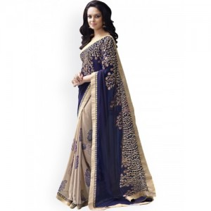Triveni Blue & Beige Georgette Chiffon Embroidered Fashion Saree