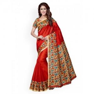 Saree Swarg Red Art Silk Printed Bhagalpuri Saree
