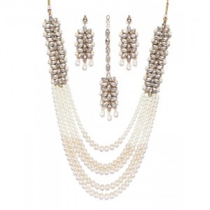 Zaveri Pearls White & Gold-Toned Stone-Studded Jewellery Set