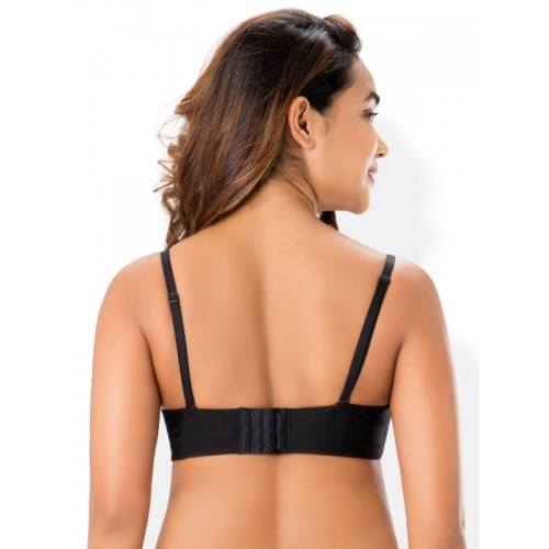 PrettySecrets Black Solid Underwired Lightly Padded Everyday Bra