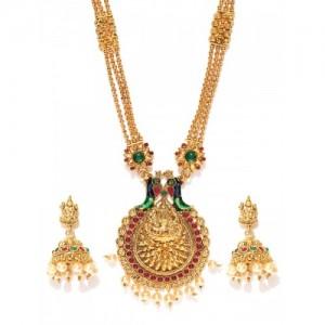 Sukkhi Gold-Plated Goddess Lakshmi Textured Beaded Jewellery Set